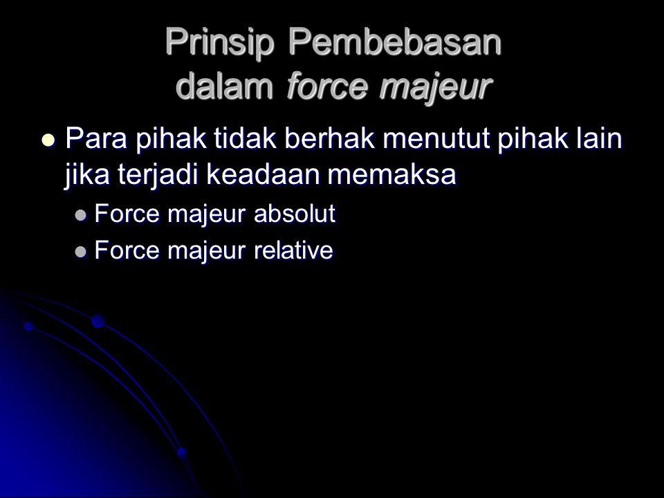 Prinsip Pembebasan dalam force majeur Para pihak tidak berhak menutut pihak lain jika terjadi keadaan memaksa Para pihak tidak berhak menutut pihak la