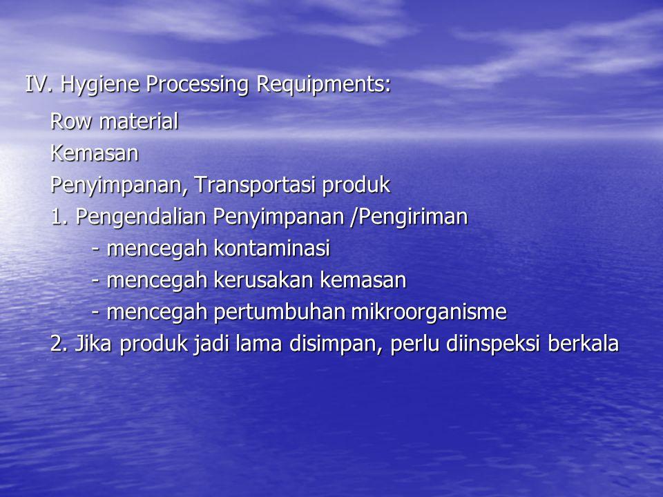 IV. Hygiene Processing Requipments: Row material Kemasan Penyimpanan, Transportasi produk 1. Pengendalian Penyimpanan /Pengiriman - mencegah kontamina