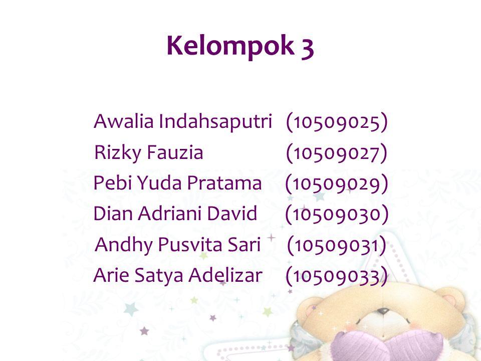 Kelompok 3 Awalia Indahsaputri(10509025) Rizky Fauzia(10509027) Pebi Yuda Pratama(10509029) Dian Adriani David(10509030) Andhy Pusvita Sari(10509031) Arie Satya Adelizar(10509033)