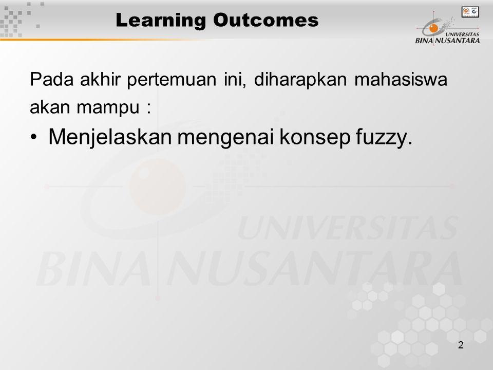 2 Learning Outcomes Pada akhir pertemuan ini, diharapkan mahasiswa akan mampu : Menjelaskan mengenai konsep fuzzy.