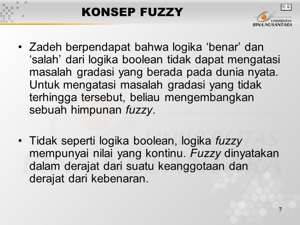 7 KONSEP FUZZY Zadeh berpendapat bahwa logika 'benar' dan 'salah' dari logika boolean tidak dapat mengatasi masalah gradasi yang berada pada dunia nyata.