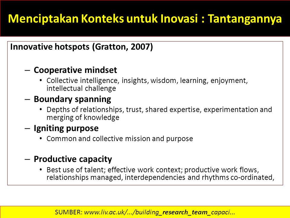 Menciptakan Konteks untuk Inovasi : Tantangannya Innovative hotspots (Gratton, 2007) – Cooperative mindset Collective intelligence, insights, wisdom,
