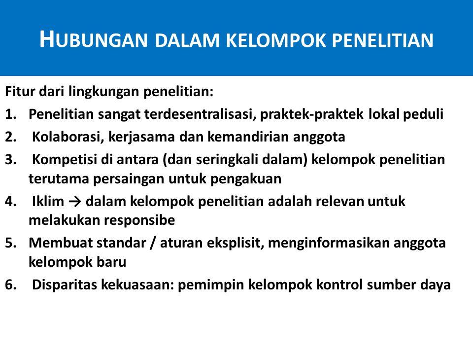 H UBUNGAN DALAM KELOMPOK PENELITIAN Menetapkan standar 1.Dasar aturan untuk mengusulkan, melaksanakan dan pelaporan penelitian 2.