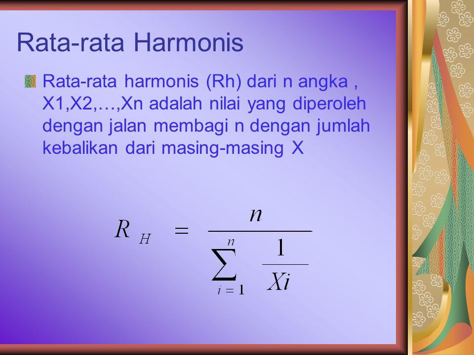 Rata-rata Harmonis Rata-rata harmonis (Rh) dari n angka, X1,X2,…,Xn adalah nilai yang diperoleh dengan jalan membagi n dengan jumlah kebalikan dari masing-masing X