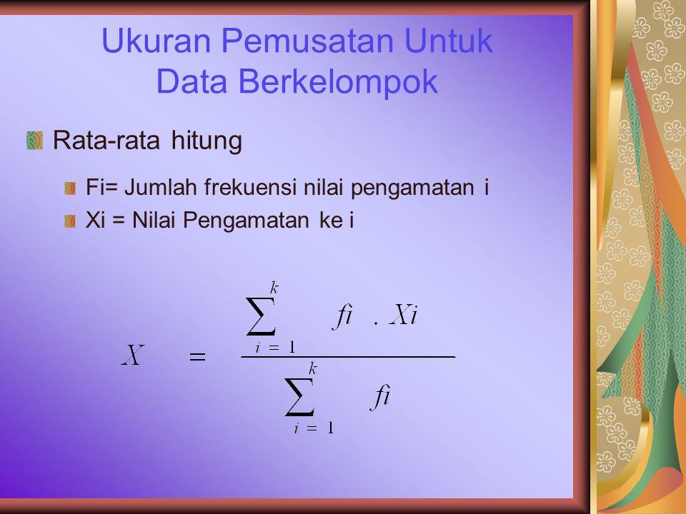 Ukuran Pemusatan Untuk Data Berkelompok Rata-rata hitung Fi= Jumlah frekuensi nilai pengamatan i Xi = Nilai Pengamatan ke i