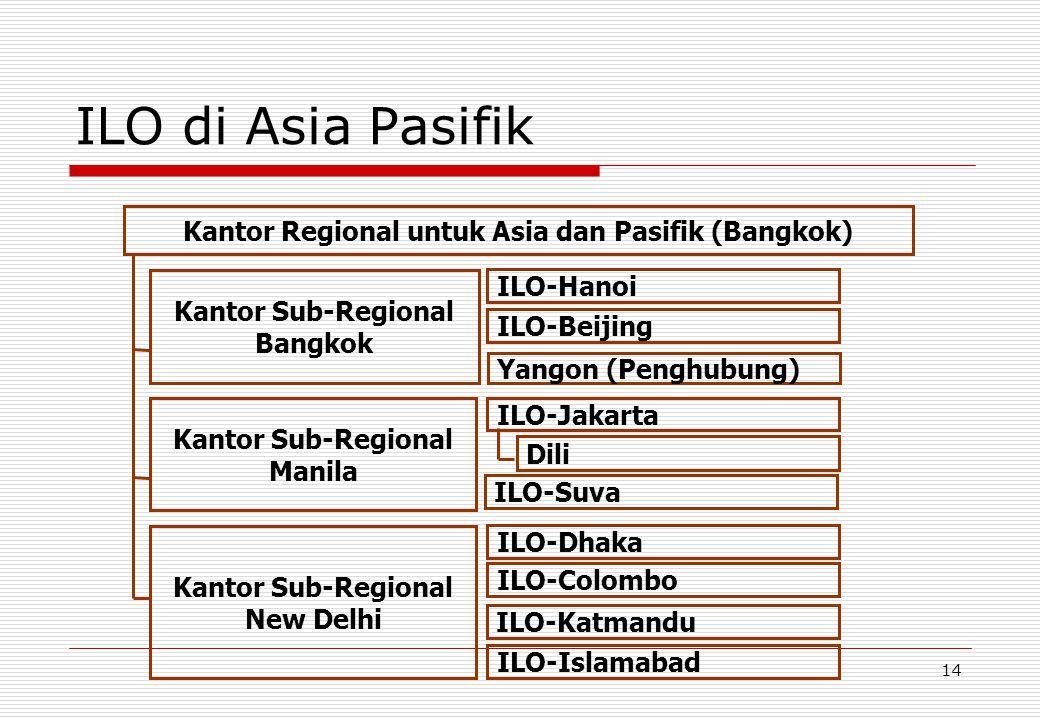14 ILO di Asia Pasifik Kantor Regional untuk Asia dan Pasifik (Bangkok) Yangon (Penghubung) ILO-Beijing ILO-Colombo ILO-Dhaka ILO-Hanoi ILO-Islamabad ILO-Jakarta ILO-Katmandu ILO-Suva Kantor Sub-Regional Bangkok Kantor Sub-Regional Manila Kantor Sub-Regional New Delhi Dili