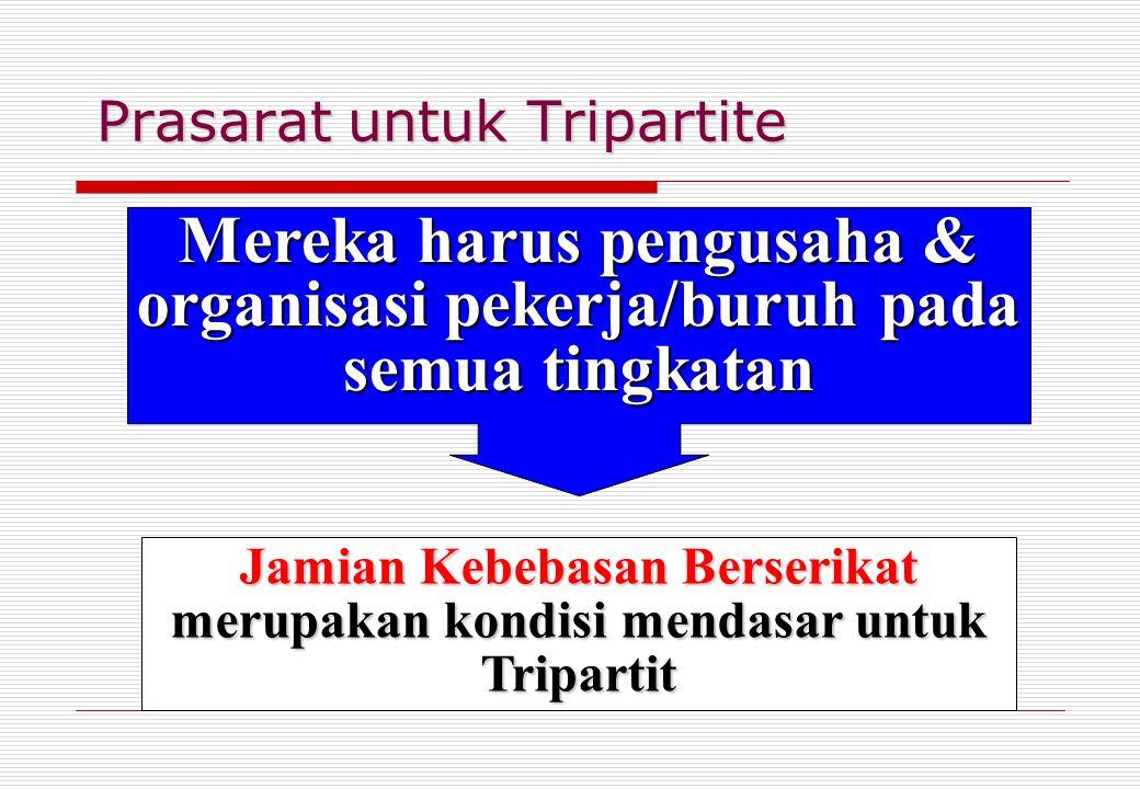 Prasarat untuk Tripartite Mereka harus pengusaha & organisasi pekerja/buruh pada semua tingkatan Jamian Kebebasan Berserikat merupakan kondisi mendasa