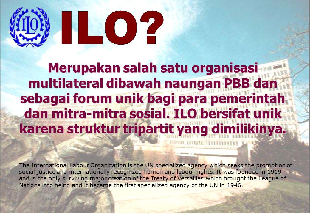 Merupakan salah satu organisasi multilateral dibawah naungan PBB dan sebagai forum unik bagi para pemerintah dan mitra-mitra sosial. ILO bersifat unik
