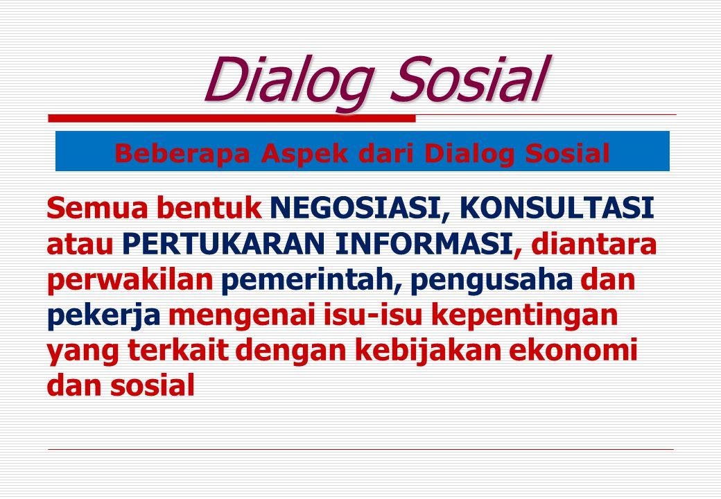 Beberapa Aspek dari Dialog Sosial Dialog Sosial Semua bentuk NEGOSIASI, KONSULTASI atau PERTUKARAN INFORMASI, diantara perwakilan pemerintah, pengusaha dan pekerja mengenai isu-isu kepentingan yang terkait dengan kebijakan ekonomi dan sosial
