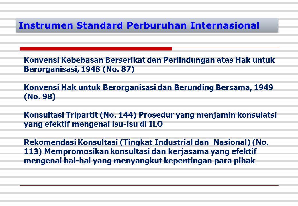 Konvensi Kebebasan Berserikat dan Perlindungan atas Hak untuk Berorganisasi, 1948 (No. 87) Konvensi Hak untuk Berorganisasi dan Berunding Bersama, 194