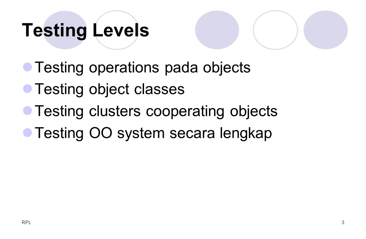RPL3 Testing Levels Testing operations pada objects Testing object classes Testing clusters cooperating objects Testing OO system secara lengkap