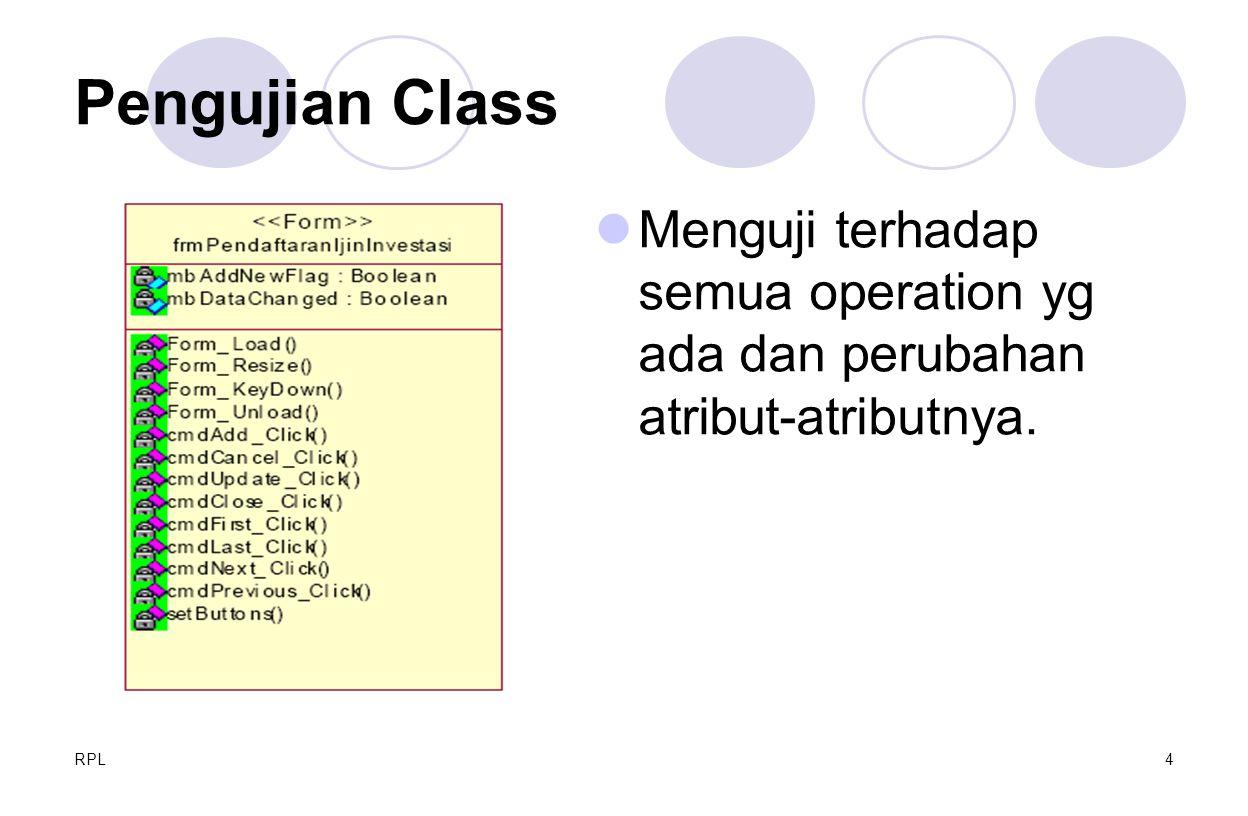 RPL4 Pengujian Class Menguji terhadap semua operation yg ada dan perubahan atribut-atributnya.