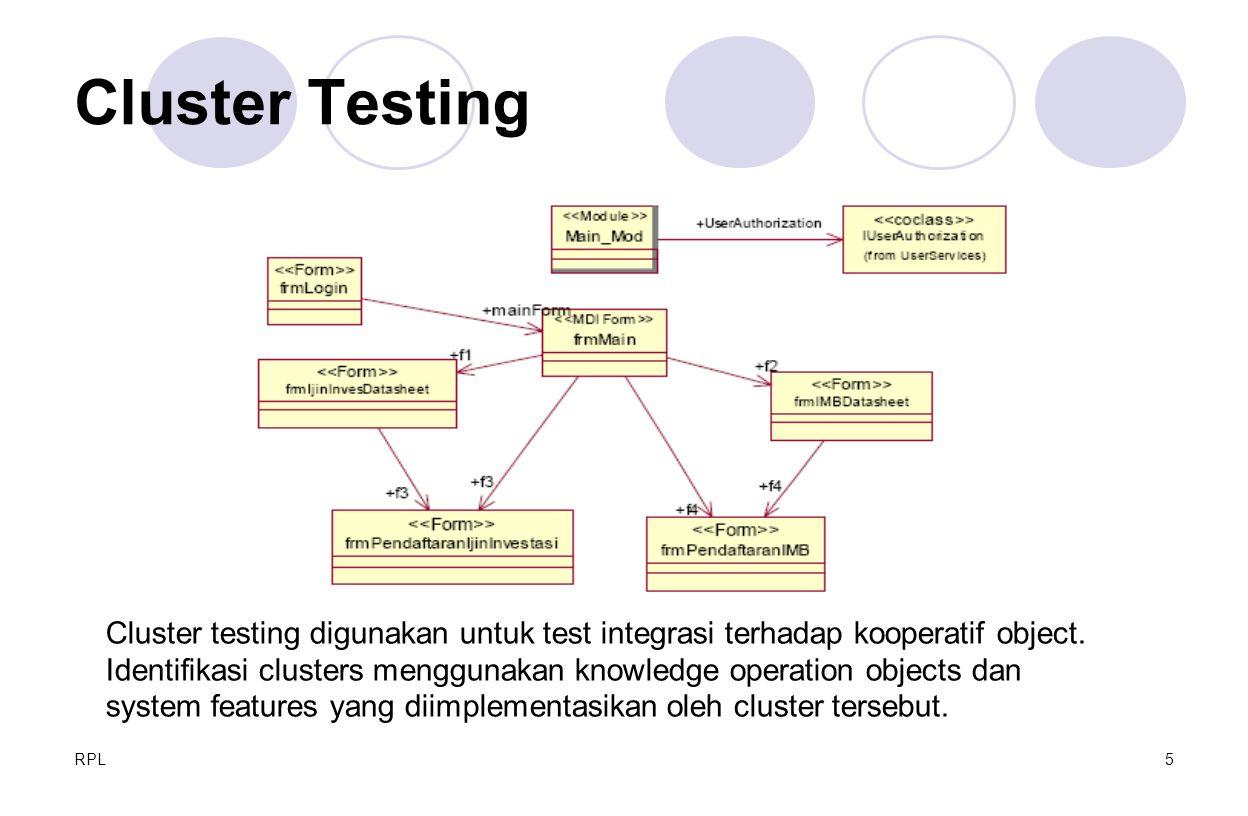RPL5 Cluster Testing Cluster testing digunakan untuk test integrasi terhadap kooperatif object. Identifikasi clusters menggunakan knowledge operation