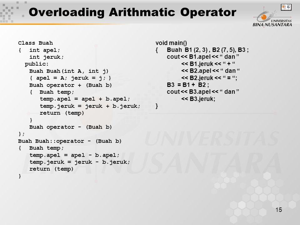 15 Overloading Arithmatic Operator Class Buah {int apel; int jeruk; public: Buah Buah(int A, int j) { apel = A; jeruk = j;} Buah operator + (Buah b) { Buah temp; temp.apel = apel + b.apel; temp.jeruk = jeruk + b.jeruk; return (temp) } Buah operator - (Buah b) }; Buah Buah::operator - (Buah b) {Buah temp; temp.apel = apel - b.apel; temp.jeruk = jeruk - b.jeruk; return (temp) } void main() {Buah B1 (2, 3), B2 (7, 5), B3 ; cout << B1.apel << dan << B1.jeruk << + << B2.apel << dan << B2.jeruk << = ; B3 = B1 + B2 ; cout << B3.apel << dan << B3.jeruk; }