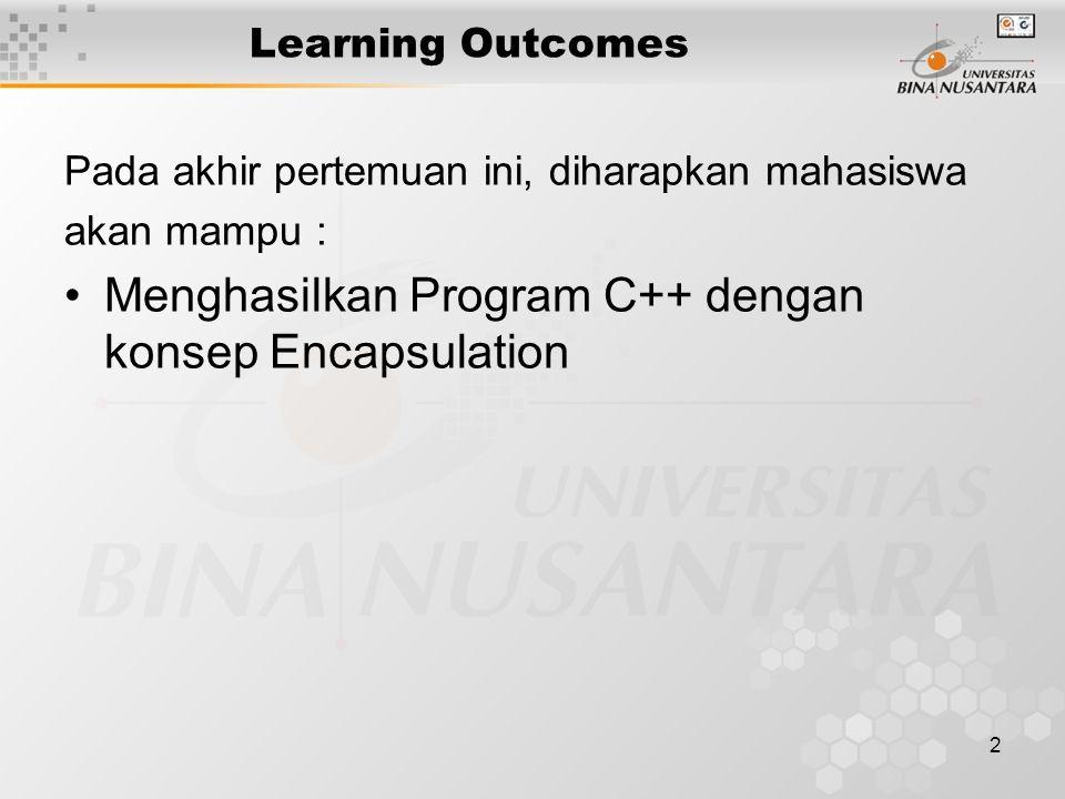 2 Learning Outcomes Pada akhir pertemuan ini, diharapkan mahasiswa akan mampu : Menghasilkan Program C++ dengan konsep Encapsulation