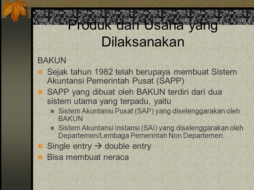 Produk dan Usaha yang Dilaksanakan BAKUN Sejak tahun 1982 telah berupaya membuat Sistem Akuntansi Pemerintah Pusat (SAPP) SAPP yang dibuat oleh BAKUN
