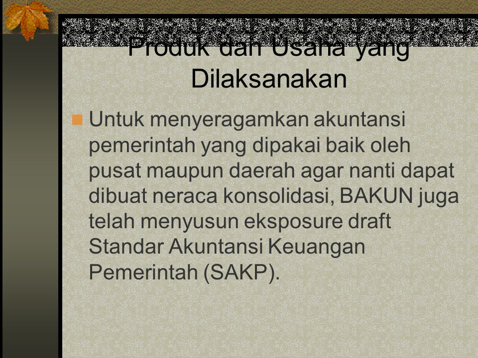 Produk dan Usaha yang Dilaksanakan Untuk menyeragamkan akuntansi pemerintah yang dipakai baik oleh pusat maupun daerah agar nanti dapat dibuat neraca konsolidasi, BAKUN juga telah menyusun eksposure draft Standar Akuntansi Keuangan Pemerintah (SAKP).