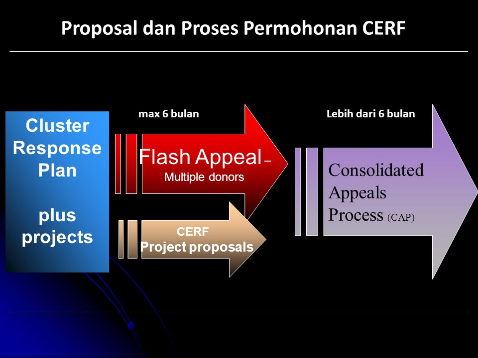 Proposal dan Proses Permohonan CERF Cluster Response Plan plus projects Flash Appeal – Multiple donors CERF Project proposals Consolidated Appeals Process (CAP) max 6 bulanLebih dari 6 bulan