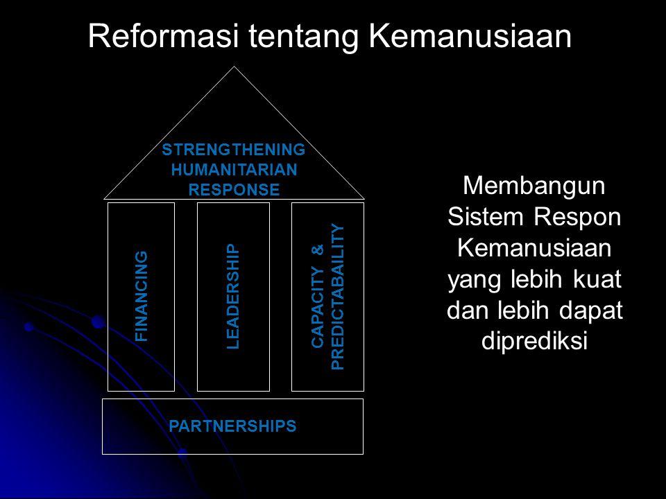 PARTNERSHIPS CAPACITY & PREDICTABAILITY FINANCING LEADERSHIP STRENGTHENING HUMANITARIAN RESPONSE Reformasi tentang Kemanusiaan Membangun Sistem Respon Kemanusiaan yang lebih kuat dan lebih dapat diprediksi