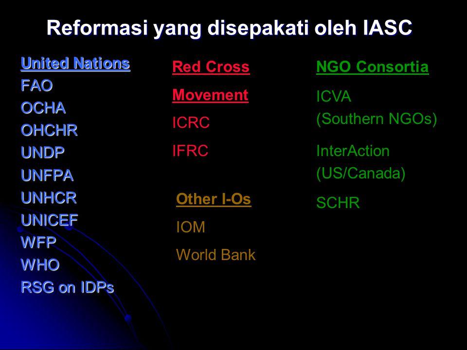 Reformasi yang disepakati oleh IASC United Nations FAOOCHAOHCHRUNDPUNFPAUNHCRUNICEFWFPWHO RSG on IDPs Red Cross Movement ICRC IFRC NGO Consortia ICVA (Southern NGOs) InterAction (US/Canada) SCHR Other I-Os IOM World Bank