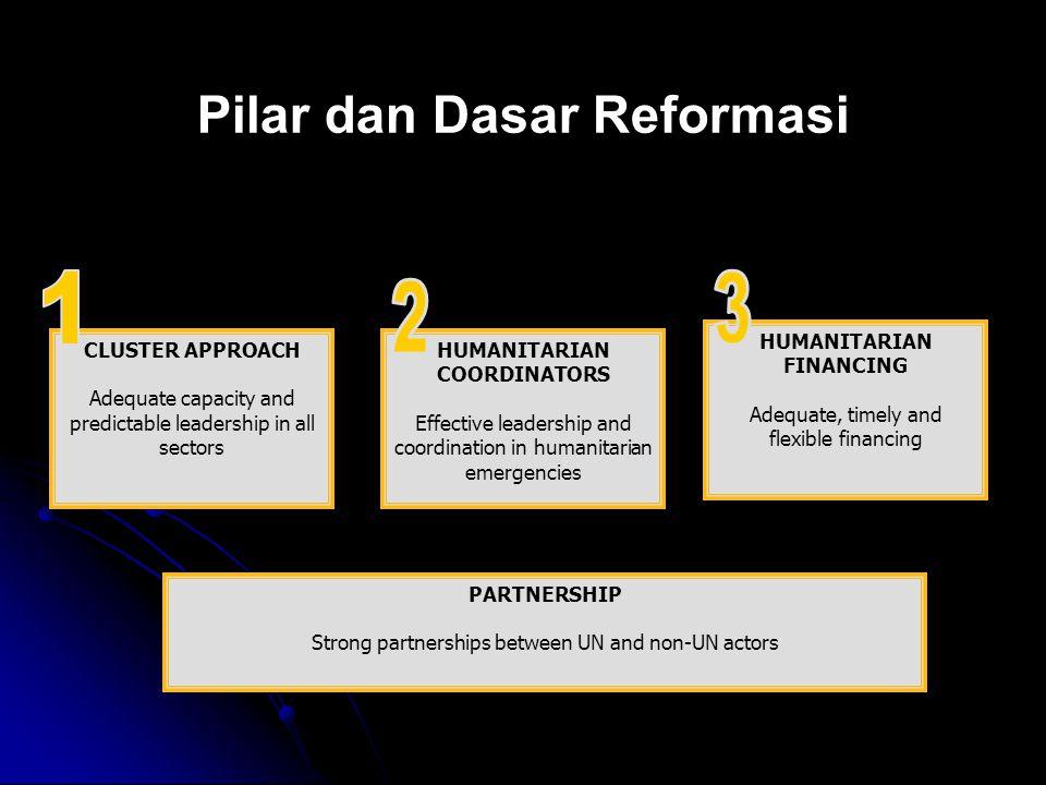 Pilar dan Dasar Reformasi CLUSTER APPROACH Adequate capacity and predictable leadership in all sectors HUMANITARIAN COORDINATORS Effective leadership and coordination in humanitarian emergencies HUMANITARIAN FINANCING Adequate, timely and flexible financing PARTNERSHIP Strong partnerships between UN and non-UN actors