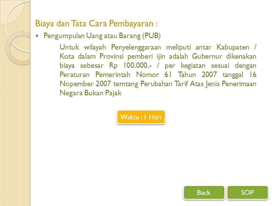 Biaya dan Tata Cara Pembayaran : Pengumpulan Uang atau Barang (PUB) Untuk wilayah Penyelenggaraan meliputi antar Kabupaten / Kota dalam Provinsi pembe