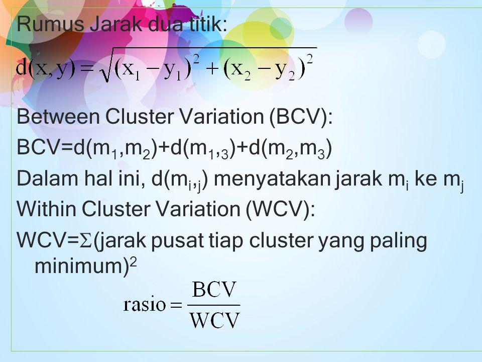 Rumus Jarak dua titik: Between Cluster Variation (BCV): BCV=d(m 1,m 2 )+d(m 1, 3 )+d(m 2,m 3 ) Dalam hal ini, d(m i, j ) menyatakan jarak m i ke m j W