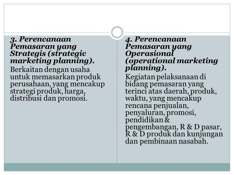 3.Perencanaan Pemasaran yang Strategis (strategic marketing planning).