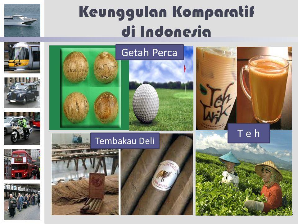 Keunggulan Komparatif di Indonesia 5 Getah Perca Tembakau Deli T e h