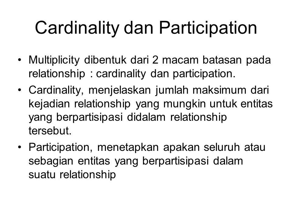Cardinality dan Participation Multiplicity dibentuk dari 2 macam batasan pada relationship : cardinality dan participation. Cardinality, menjelaskan j