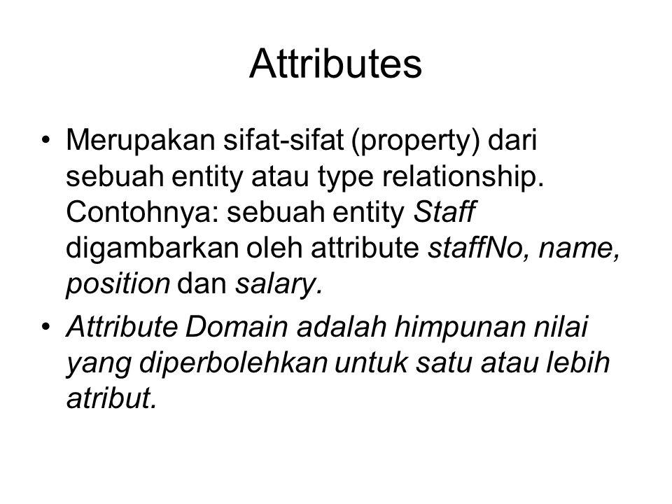 Attributes Merupakan sifat-sifat (property) dari sebuah entity atau type relationship. Contohnya: sebuah entity Staff digambarkan oleh attribute staff