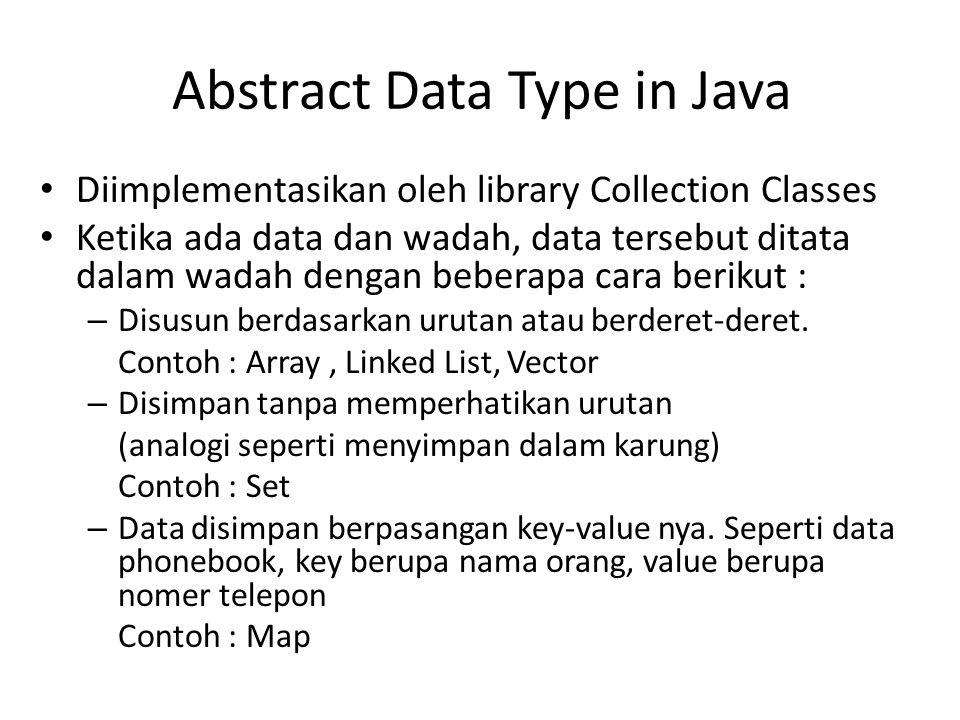Diimplementasikan oleh library Collection Classes Ketika ada data dan wadah, data tersebut ditata dalam wadah dengan beberapa cara berikut : – Disusun berdasarkan urutan atau berderet-deret.