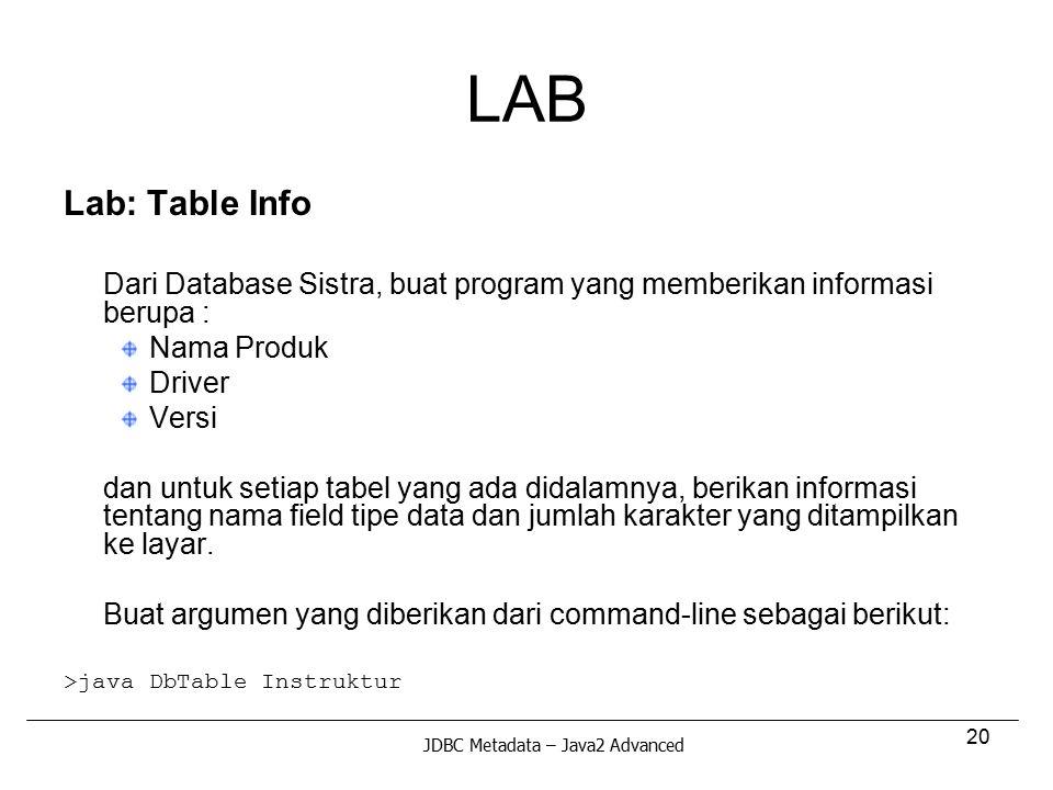 20 LAB Lab: Table Info Dari Database Sistra, buat program yang memberikan informasi berupa : Nama Produk Driver Versi dan untuk setiap tabel yang ada