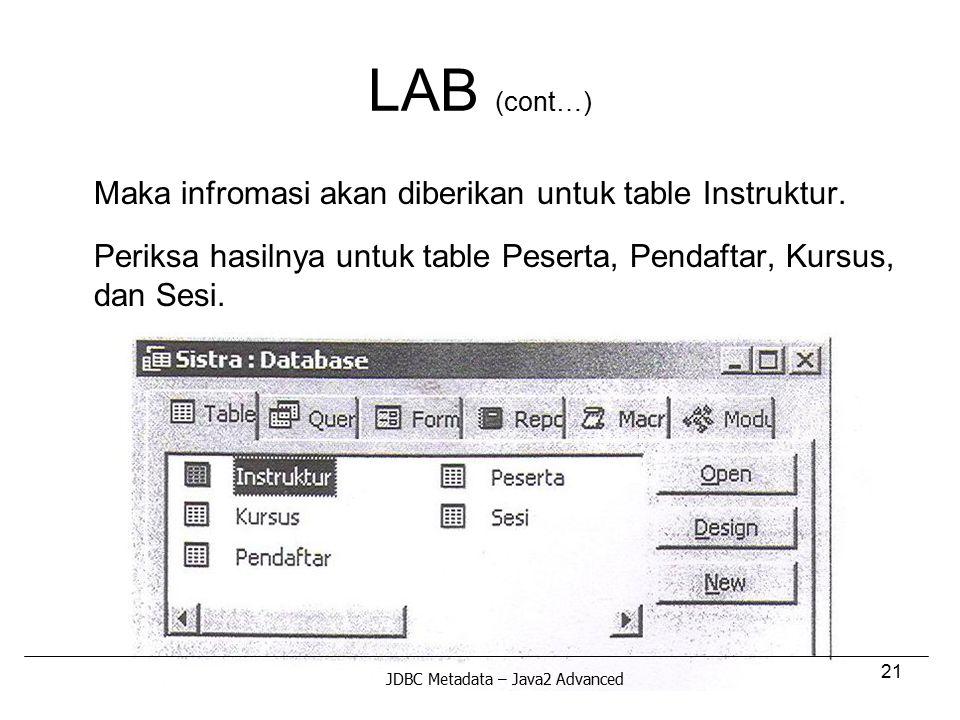 21 LAB (cont…) Maka infromasi akan diberikan untuk table Instruktur. Periksa hasilnya untuk table Peserta, Pendaftar, Kursus, dan Sesi. JDBC Metadata