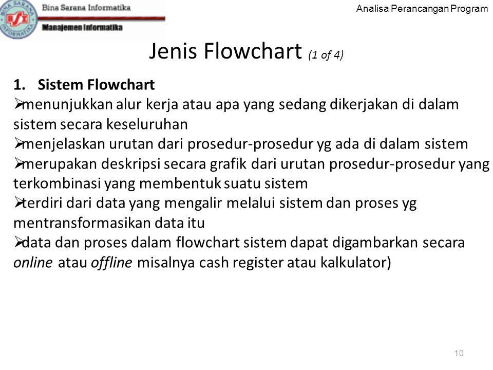 Analisa Perancangan Program Jenis Flowchart (1 of 4) 10 1.Sistem Flowchart  menunjukkan alur kerja atau apa yang sedang dikerjakan di dalam sistem secara keseluruhan  menjelaskan urutan dari prosedur-prosedur yg ada di dalam sistem  merupakan deskripsi secara grafik dari urutan prosedur-prosedur yang terkombinasi yang membentuk suatu sistem  terdiri dari data yang mengalir melalui sistem dan proses yg mentransformasikan data itu  data dan proses dalam flowchart sistem dapat digambarkan secara online atau offline misalnya cash register atau kalkulator)