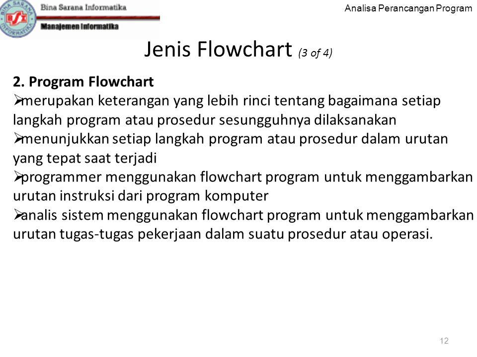 Analisa Perancangan Program Jenis Flowchart (3 of 4) 12 2.