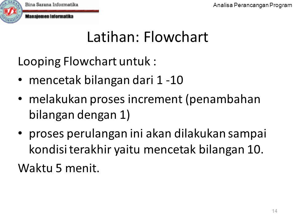 Analisa Perancangan Program Latihan: Flowchart Looping Flowchart untuk : mencetak bilangan dari 1 -10 melakukan proses increment (penambahan bilangan dengan 1) proses perulangan ini akan dilakukan sampai kondisi terakhir yaitu mencetak bilangan 10.