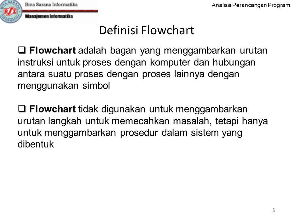 Analisa Perancangan Program Definisi Flowchart 9  Flowchart adalah bagan yang menggambarkan urutan instruksi untuk proses dengan komputer dan hubungan antara suatu proses dengan proses lainnya dengan menggunakan simbol  Flowchart tidak digunakan untuk menggambarkan urutan langkah untuk memecahkan masalah, tetapi hanya untuk menggambarkan prosedur dalam sistem yang dibentuk