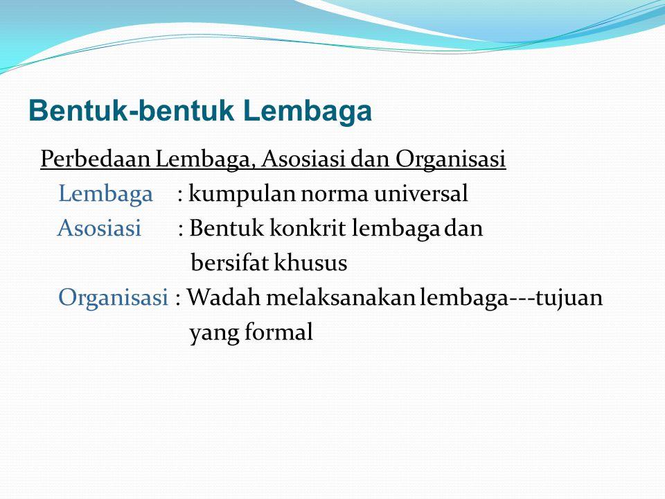 Bentuk-bentuk Lembaga Perbedaan Lembaga, Asosiasi dan Organisasi Lembaga : kumpulan norma universal Asosiasi : Bentuk konkrit lembaga dan bersifat khu
