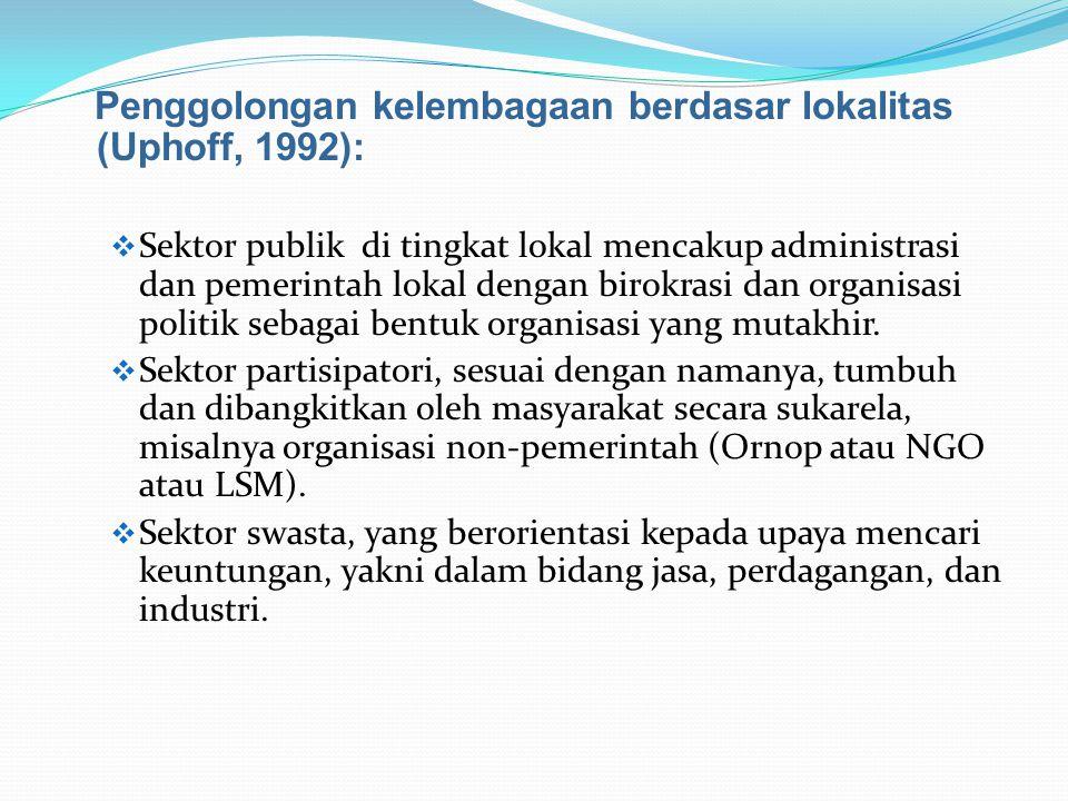 Penggolongan kelembagaan berdasar lokalitas (Uphoff, 1992):  Sektor publik di tingkat lokal mencakup administrasi dan pemerintah lokal dengan birokra