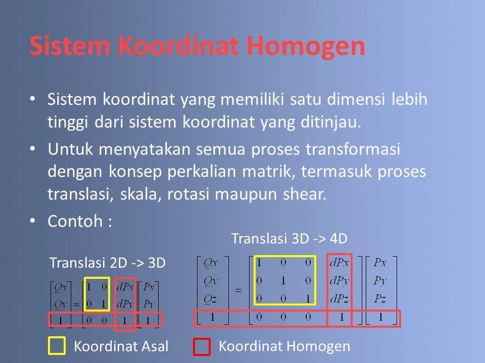 Sistem Koordinat Homogen Sistem koordinat yang memiliki satu dimensi lebih tinggi dari sistem koordinat yang ditinjau. Untuk menyatakan semua proses t