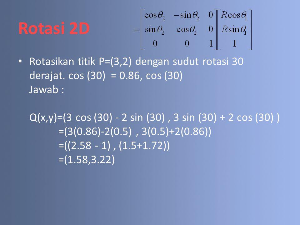 Rotasi 2D Rotasikan titik P=(3,2) dengan sudut rotasi 30 derajat. cos (30) = 0.86, cos (30) Jawab : Q(x,y)=(3 cos (30) - 2 sin (30), 3 sin (30) + 2 co