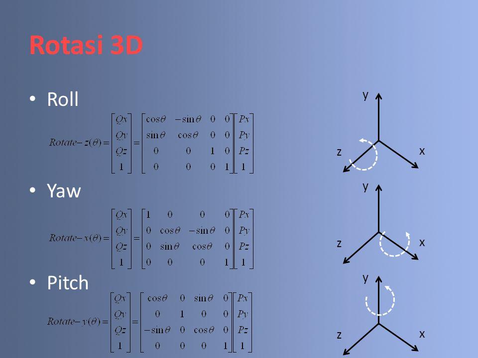 Rotasi 3D Roll Yaw Pitch y x z y x z y x z
