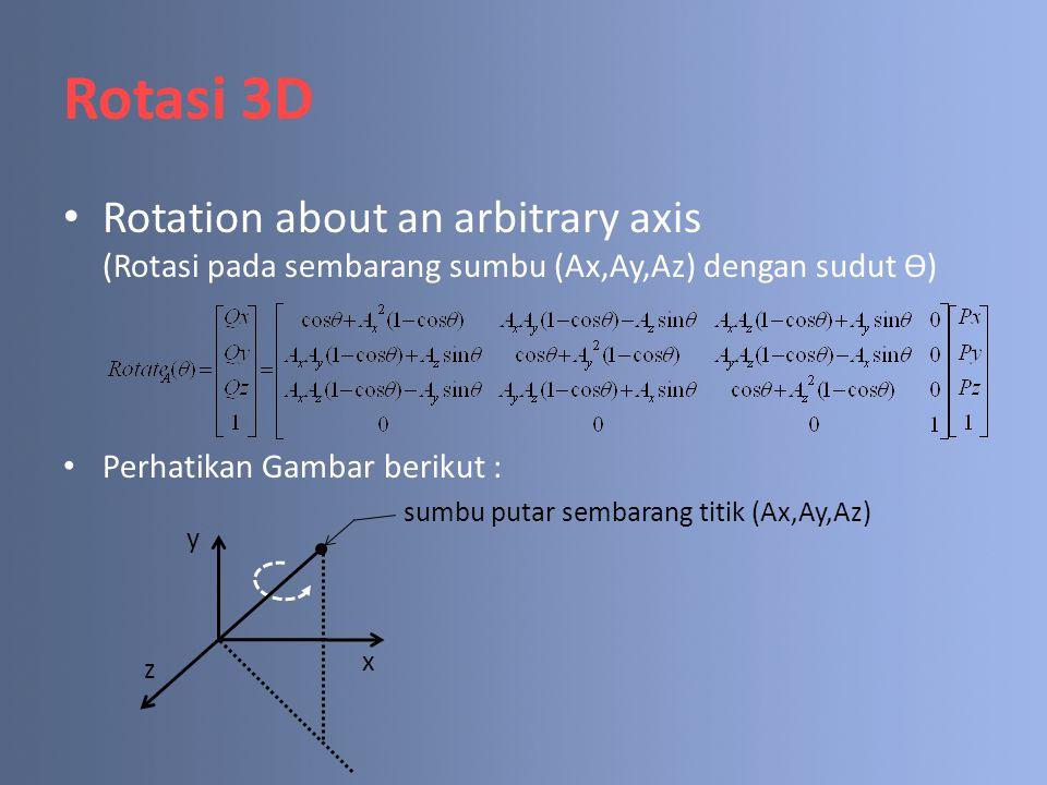 Rotasi 3D Rotation about an arbitrary axis (Rotasi pada sembarang sumbu (Ax,Ay,Az) dengan sudut Ө) Perhatikan Gambar berikut : y x z sumbu putar semba
