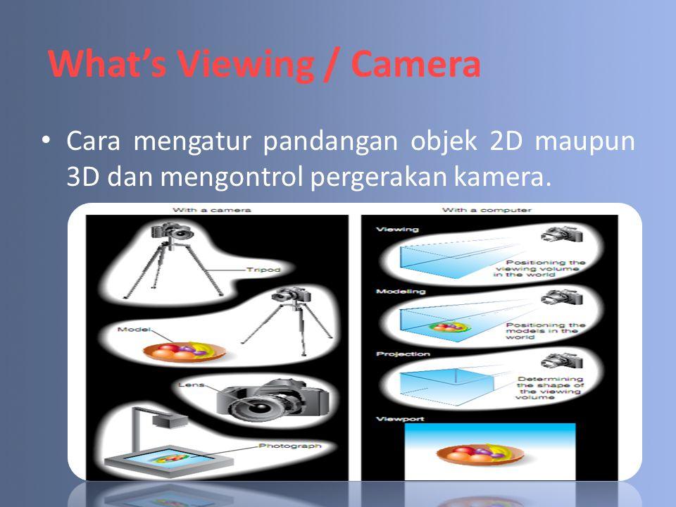 What's Viewing / Camera Cara mengatur pandangan objek 2D maupun 3D dan mengontrol pergerakan kamera.