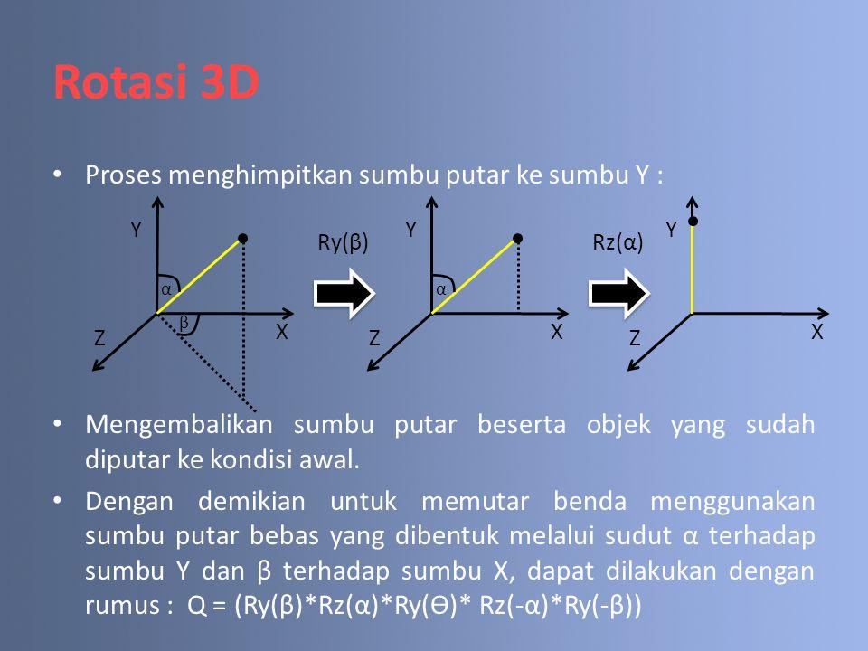 Rotasi 3D Proses menghimpitkan sumbu putar ke sumbu Y : Mengembalikan sumbu putar beserta objek yang sudah diputar ke kondisi awal. Dengan demikian un