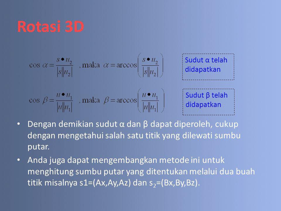 Rotasi 3D Dengan demikian sudut α dan β dapat diperoleh, cukup dengan mengetahui salah satu titik yang dilewati sumbu putar. Anda juga dapat mengemban