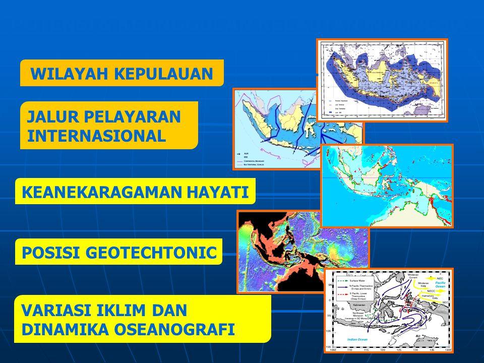 KEANEKARAGAMAN HAYATI VARIASI IKLIM DAN DINAMIKA OSEANOGRAFI POSISI GEOTECHTONIC JALUR PELAYARAN INTERNASIONAL POTENSI & KEUNGGULAN KELAUTAN INDONESIA