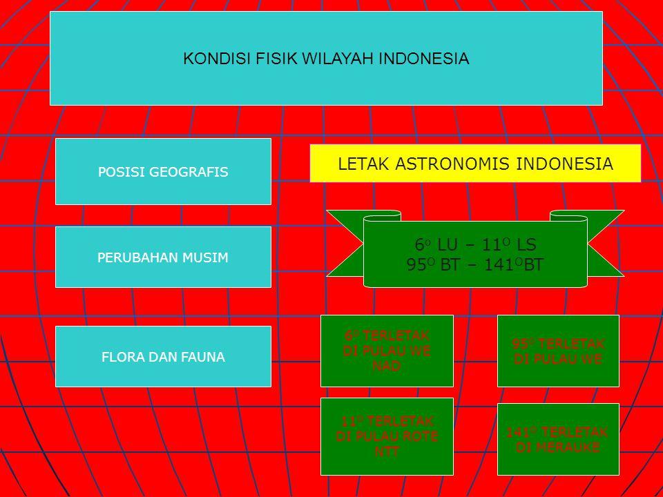 KONDISI FISIK WILAYAH INDONESIA POSISI GEOGRAFIS PERUBAHAN MUSIM FLORA DAN FAUNA LETAK ASTRONOMIS INDONESIA 6 o LU – 11 O LS 95 O BT – 141 O BT 6 O TE