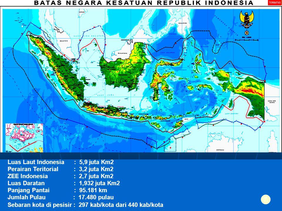Luas Laut Indonesia : 5,9 juta Km2 Perairan Teritorial : 3,2 juta Km2 ZEE Indonesia : 2,7 juta Km2 Luas Daratan : 1,932 juta Km2 Panjang Pantai : 95.1